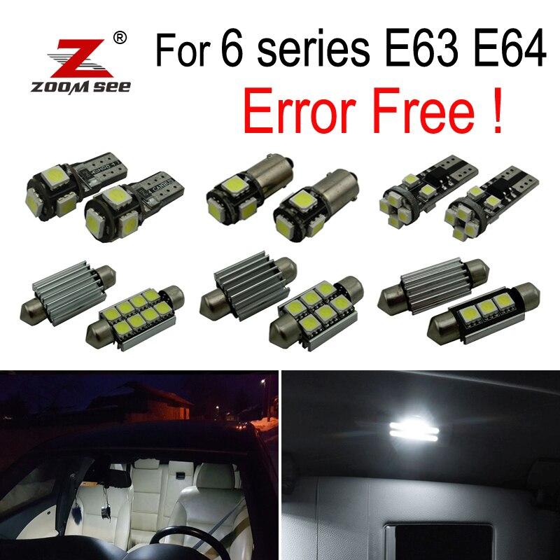 18pcs LED License plate lamp + Interior Lights bulb Kit for BMW 6 series E63 E64  630i 635d 630ci 645ci 650ci 650i M6 (04-10)