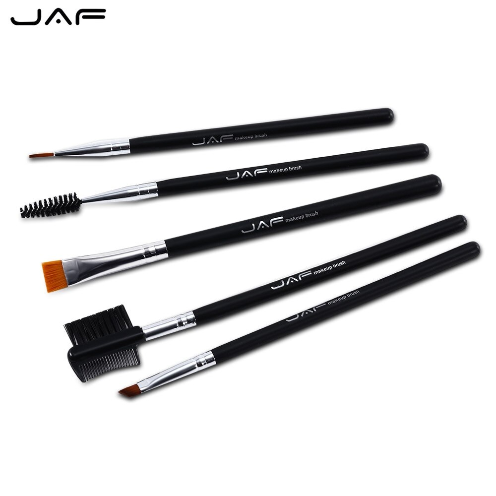 JAF 5 uds cepillo de maquillaje negro portátil Set herramienta cosmética profesional