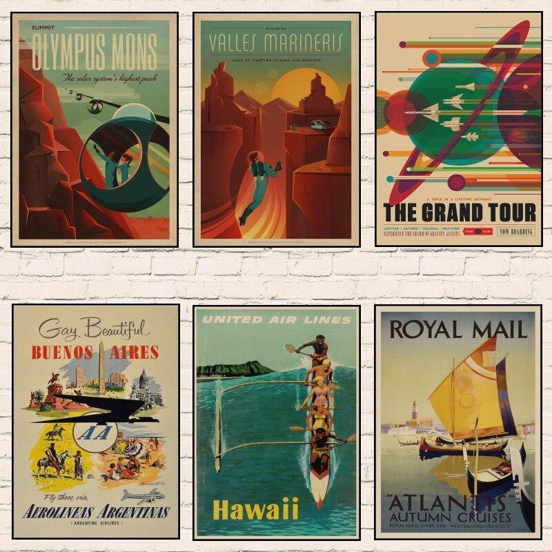 Póster de viaje Kraft Retro con paisaje famoso, Nueva YORK/ROMA/ITALIA, adhesivo decorativo para pared, pósteres decorativos para casa o bar, regalo de chico A9