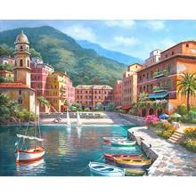Pintura por número DIY Dropshipping 40x50 50x65cmMountain City Little Lak paisaje lienzo habitación decoración arte imagen presente