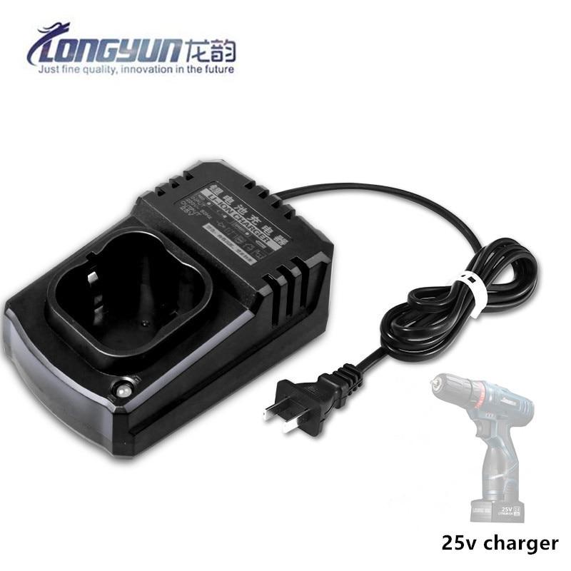 Batería de litio recargable de 25V taladro eléctrico destornillador accesorios de herramienta eléctrica batería de carga con enchufe de la UE/Reino Unido