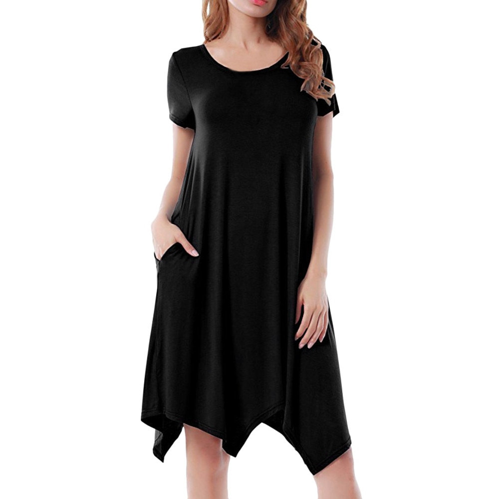 Vestido casual Jaycosin de señora casual de color sólido de manga corta con bolsillo vestido de dobladillo irregular de las mujeres al aire libre salvaje vestido
