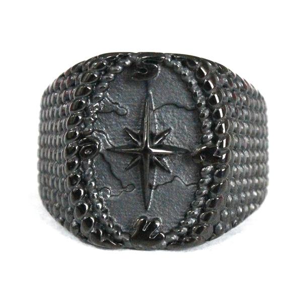 Anillo de acero inoxidable 316L con diseño de ancla, anillo negro marinero, envío directo