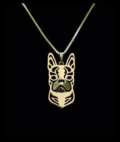 Or & argent 1 pièces Boho Chic alliage Boston Terrier collier mode dessin animé chien pendentif argent or deux couleurs plaqué