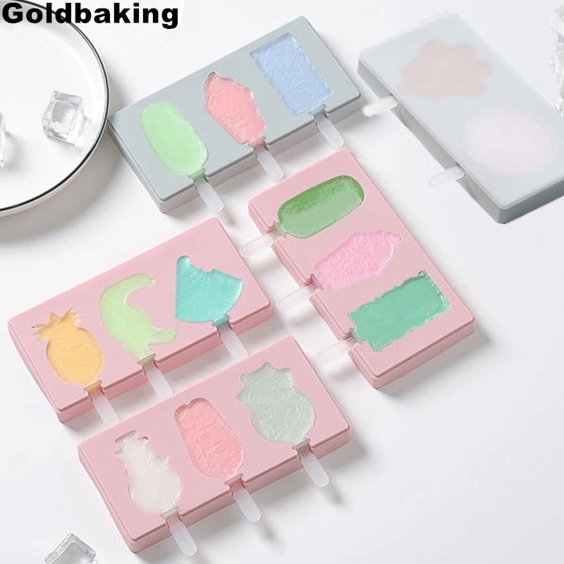 Molde de hielo de silicona bonito Goldbaking con tapa molde de helado moldes de helado DIY molde para barras de hielo con palos reutilizables