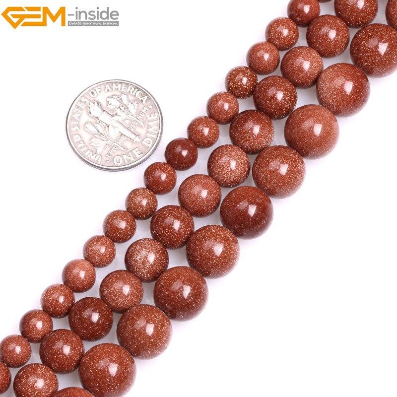 """Cuentas redondas de piedra arenisca de oro marrón de 6mm-10mm para fabricación de joyas, collar de 15 """"con gemas DIY en el interior"""