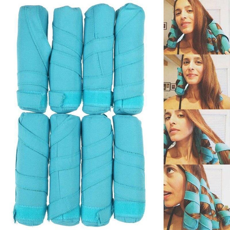 8psc Hair Rollers Sleep Styler Kit Long Cotton Hair Curler No Heat For Women Overnight Sleeping DIY