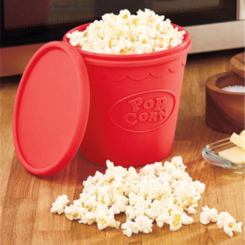 Cubeta de palomitas de maíz plegable de silicona de calidad DIY para alimentos, fabricante de cuencos de maíz para microondas, herramienta para hornear palomitas