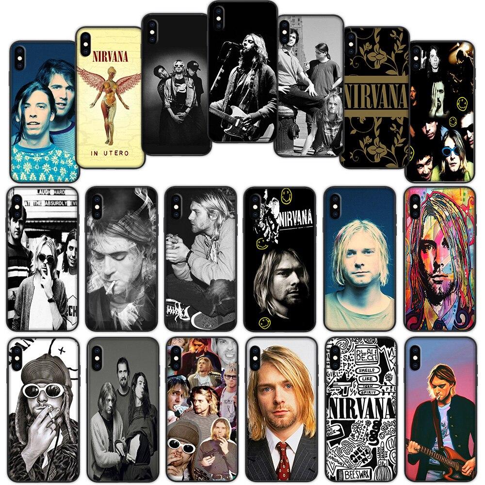 Nirvana, Kurt Cobain, suave funda para iPhone XS 11 Pro Max XR X 7 7 6 6S Plus