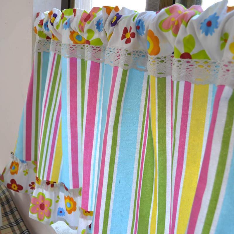 Cortinas a rayas Multicolor con flecos y toldo para cocina, cortinas cortas para niños, dormitorio, ventana, persianas romanas