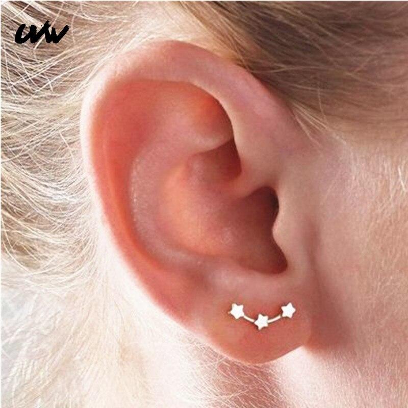 UVW206 2 шт. модные серьги-гвоздики со звездами для скалолазания, хирургическая стальная шпилька для ушей, серьги для пирсинга, Женские аксессу...