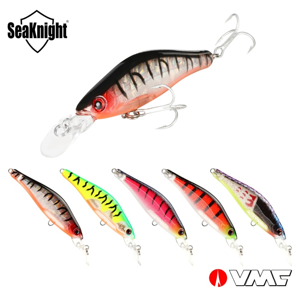 Seaknight isca de suspensão sk043, 5 peças de isca de pesca dura 6.5g 65mm 0-1.2m, mini minnow wobblers isca de pesca de carpa, ganchos vmc