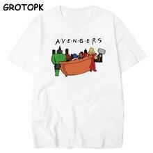 Avengers Endgame Spoof hommes T-shirt manches courtes coton amis lettre T-shirt pour hommes Harajuku hauts iron man T-shirt homme