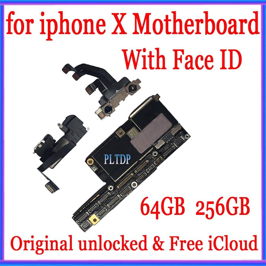 100% original placa-mãe para iphone x fábrica desbloquear mainboard com/sem face id com chips completos sistema ios placa lógica