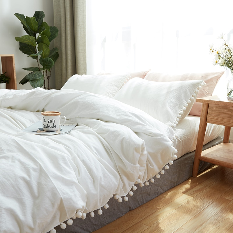 Juego de cama de algodón de 21 100%, textiles para el hogar, suaves forros de cama King Queen, tamaño doble, funda de edredón con bola de Blanco Simple, Sábana plana