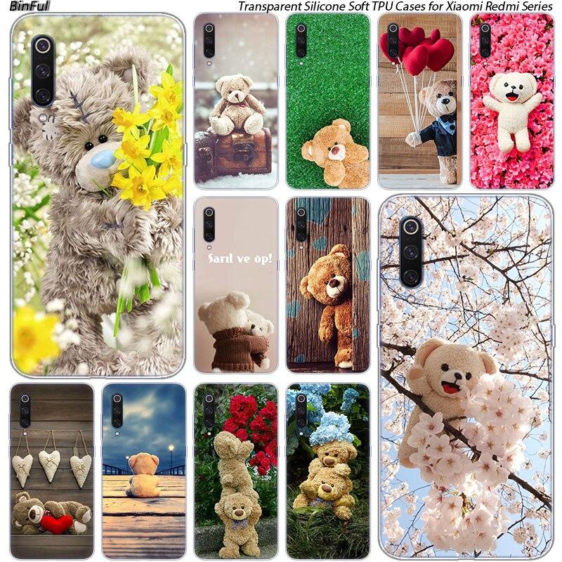 Hot Cute gift teddy bear Silicone Case For Xiaomi Pocophone F1 9T 9 9SE 8 A2 Lite A1 A2 Mix3 Redmi K20 7A Note 4 4X 5 6 7 Pro S2