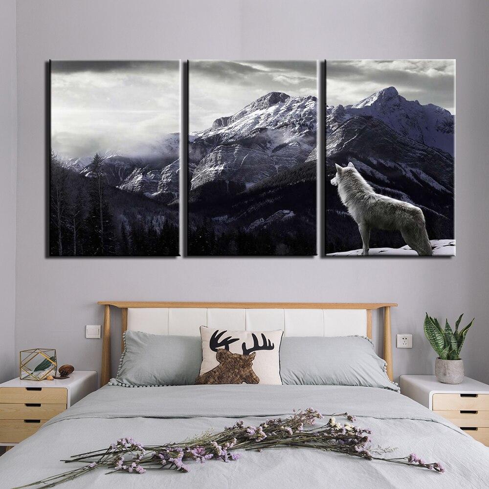 Pintura da lona moderna 3 peças neve montanha lobo posters quadros de parede da lona para sala estar