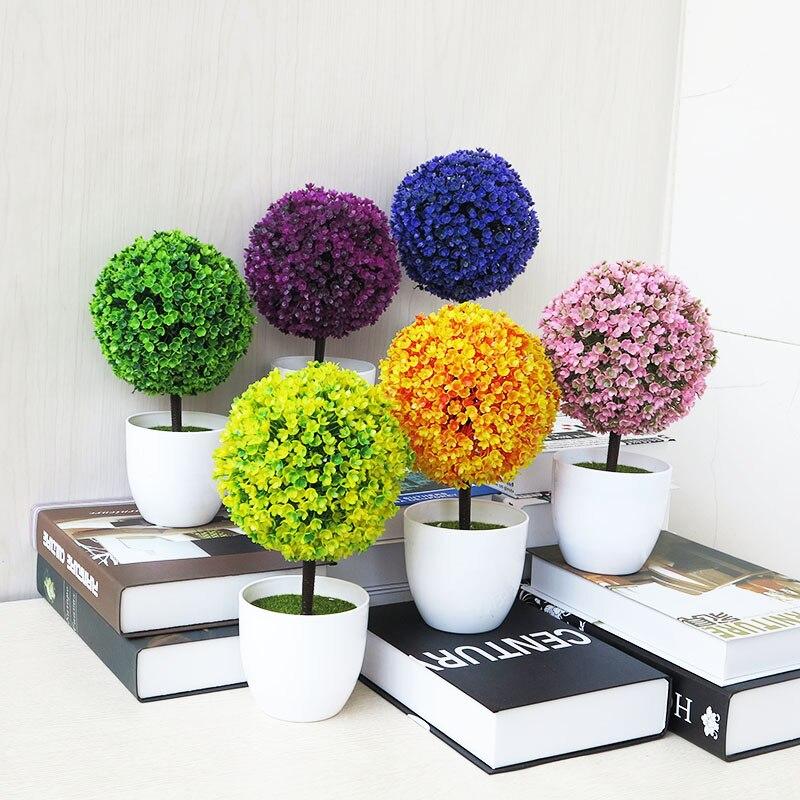 מכירה ברכה אורן דובדבן פריחת כדור עציצי פרחים מלאכותיים בונסאי Trigeminal פסטיבל בית מזויף פרחי קישוטים