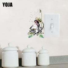 YOJA Naughty Monkey And Sunflower Rain PVC Switch Sticker Interesting Pastoral Style Decor Wall Decal 15SS0192