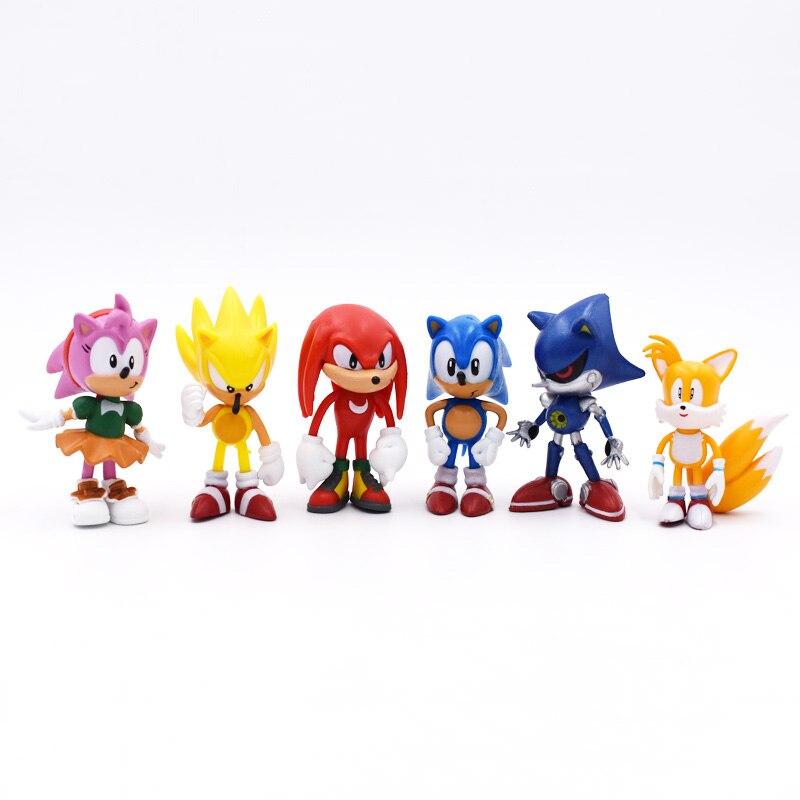 6 unids/set 7cm Sonic figuras de juguete PVC juguete Sonic Shadow Tails personajes figura de juguete envío gratis