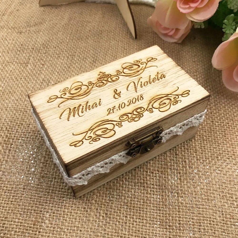 Caja de anillo de boda rústica Retro personalizada caja de anillo de nombre CAJA rústica portadora de anillo de boda