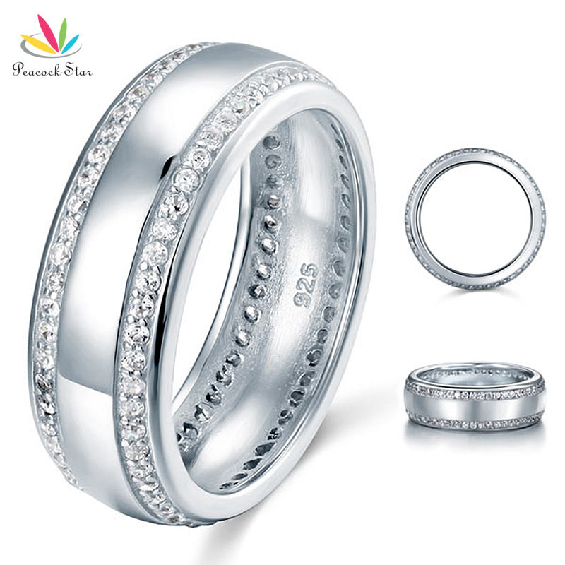 Pfau Stern Runde Cut Männer Wedding Band Solide 925 Sterling Silber Ring Schmuck CFR8052