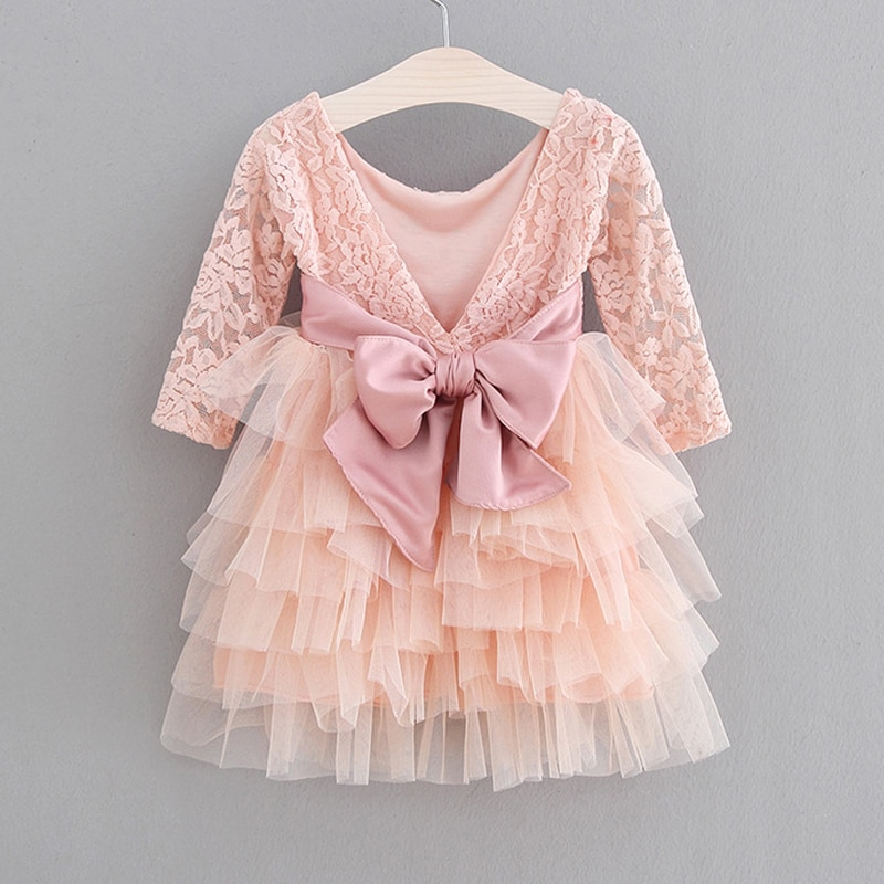 chinese style winter girls dress long sleeve embroidered cheongsam princess dresses for girls birthday party dress kids clothing 2021 New Lace Tulle Cake Girls Summer Dress Lace Long-Sleeve Gown Princess Dress Dresses For Girls Evening Dress Kids Clothing