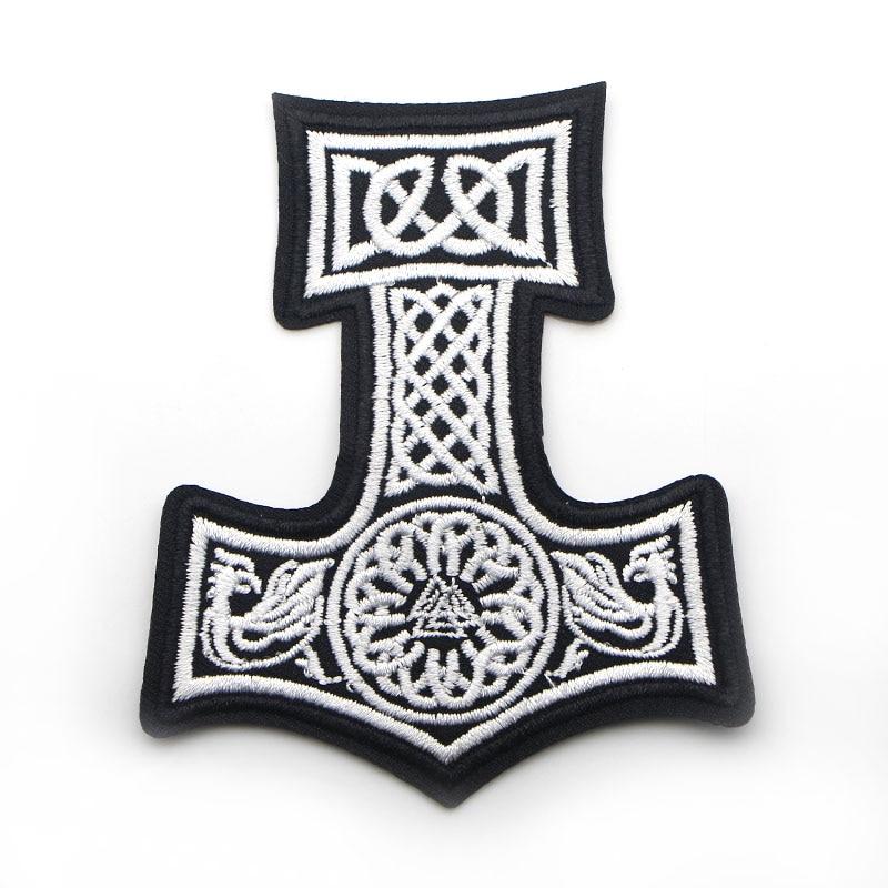 D0006 Mjolnir North Viking Thor Hammer Loki Odin шкуры вышитые патч Железо на патч
