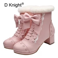 sweet japanese beauty women ankle boots winter new lace bow snow boots for women side zip platform thick high heels lolita shoes
