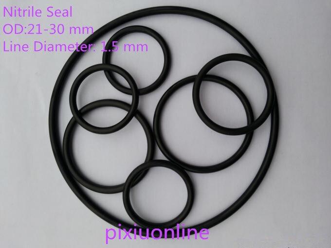Junta tórica de nitrilo YT933 de 50 uds/anillo de respaldo/anillo de junta de nitrilo sello OD (21-30mm) * diámetro del cable 1,5mm NBR