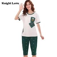 high quality cotton women pajamas sets summer sleepwear short sleeve pyjamas round neck ladies cute cartoon print nightgown