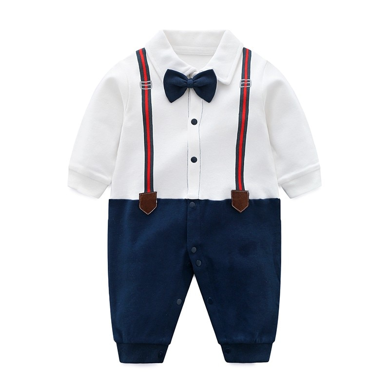 YiErYing Newborn Birthday Gift Clothing Fashion 100% Cotton Gentleman style Baby Boy Rompers Leisure Infant Jumpsuit