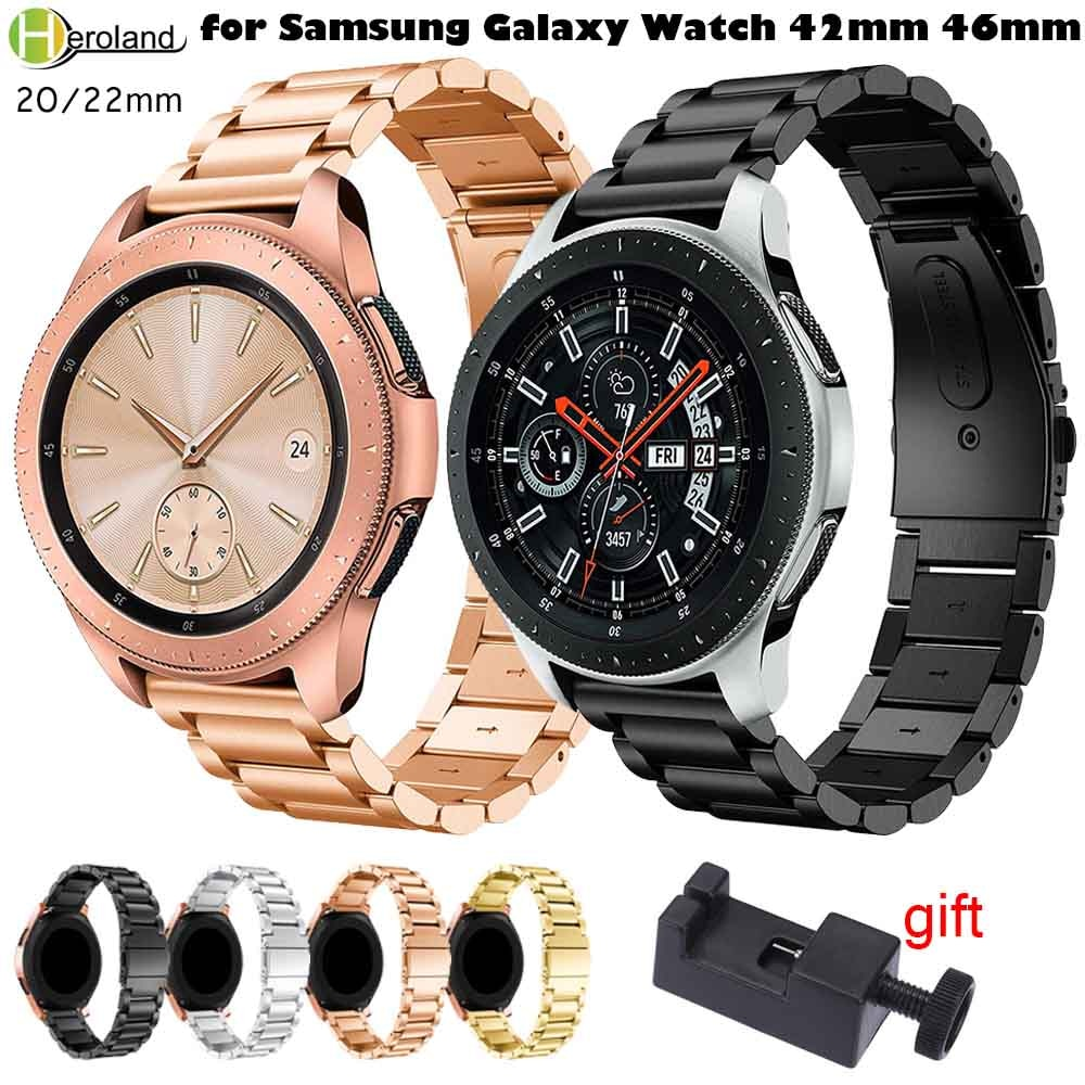 20mm 22mm Watchband Stainless Steel For Samsung Gear S3 S2/S4 Classic/Frontier Wrist Strap For Samsung Galaxy Watch 42/46mm+tool 22mm stainless steel strap for samsung galaxy 46 gear s3 classic frontier watch band wrist 20mm bracelet silver quick release