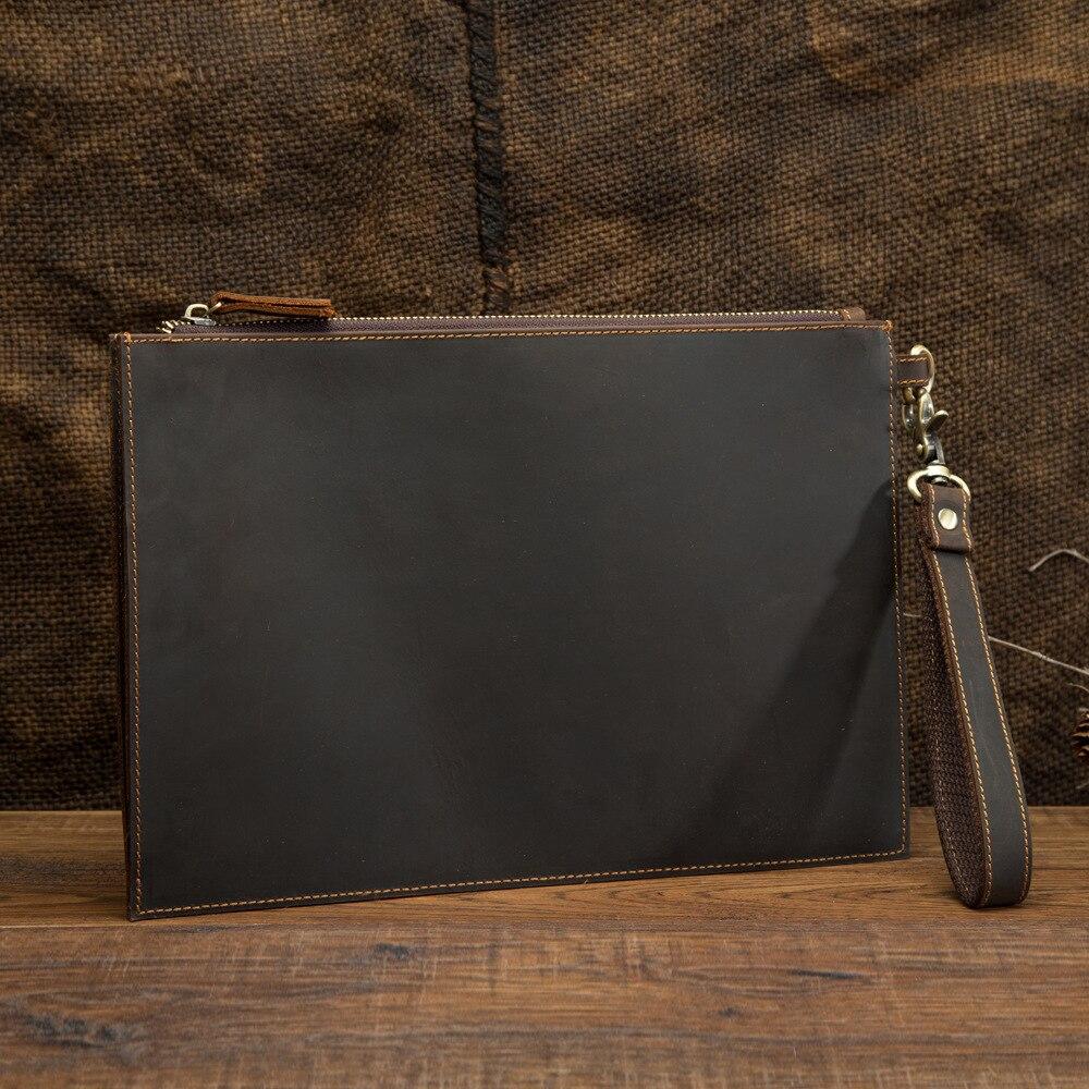 Crazy horse genuíno couro genuíno, bolsa de envelope para homens, carteira de negócios, grande capacidade, documentos, pulseira de mão