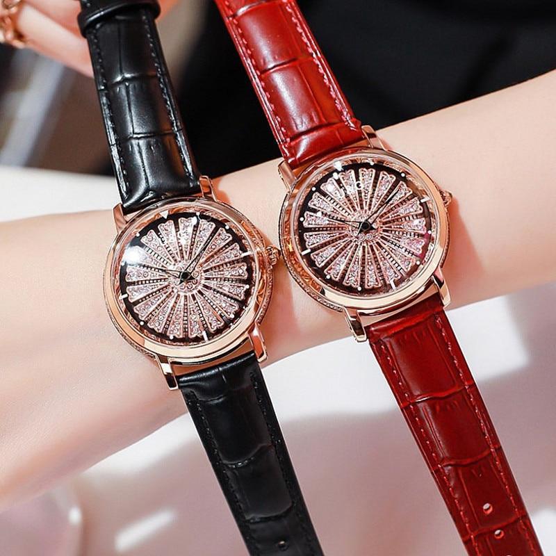 Super Cool Rotation Women Watches Lady Luxury Casual Quartz Watch Woman Leather Strap Watch Clock Big Dialhorloges vrouwen enlarge