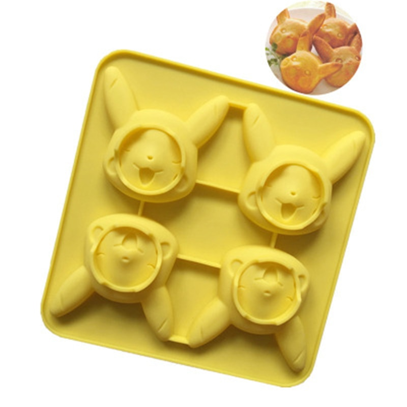 Molde de silicona serie de dibujos animados de animales pastel molde Pikachu bolsillo monstruo silicona bolsillo molde jalea Material de alta calidad nuevo