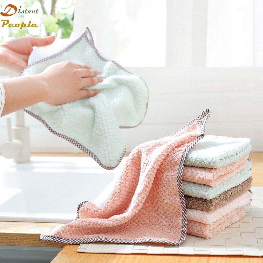 1pc Kitchen Towel Super Absorbent Microfiber Dish Cloth Sink Wipe Coral Fleece Tableware Cleaning Towel kichen Tools Gadgets