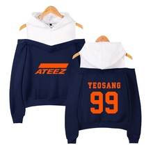 VAGROVSY Kpop Group ATEEZ Secxy Off-Shoulder Sweatshirts Women Hongjoong Seonghwa Yunho Yeosang San Mingi Wooyoung Tracksuit