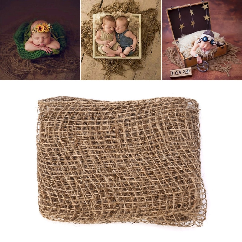 Newborn Jute Backdrop Blanket Baby Photography Prop Chunky Burlap Layer Net-m20