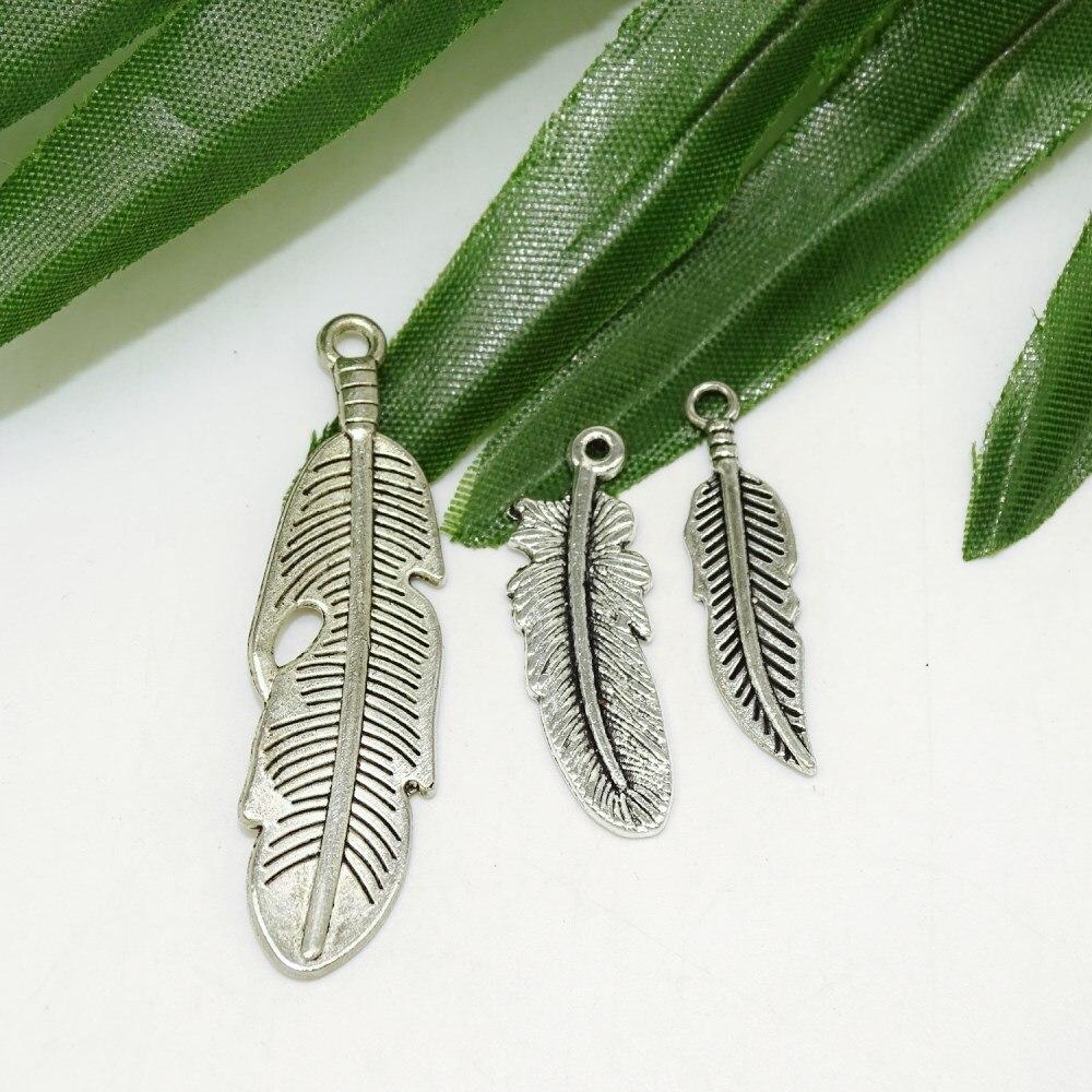 Antiguo plata ramas deja pluma colgante hecho a mano colgante de manualidades DIY moda Vintage gargantilla collar atrapasueños