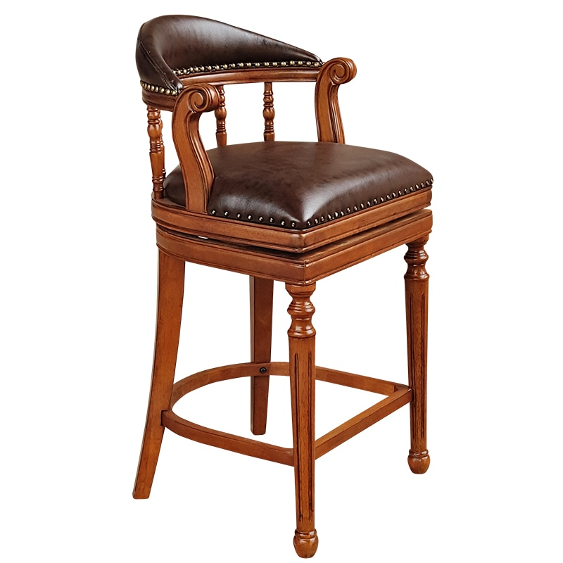 American Style Solid Wood High Bar Chair European Stool Leather Swivel