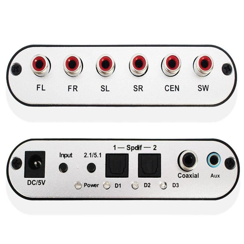 Numérique AC3 optique à stéréo Surround analogique HD 5.1 décodeur Audio 2 Ports SPDIF HD Audio Rush pour lecteurs HD/DVD/XBOX360