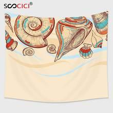 Cutom Tapestry Wall Hanging,Seashells Decor Pastel Colored Macro Seashells Picked from Beach Drifts Coral Marine Mollusk Them