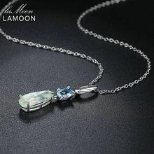 LAMOON Natural Gemstone Prehnite & Topaz 925 Sterling Silver Chain Pendant Necklace Color Jewelry for Women LMNI063