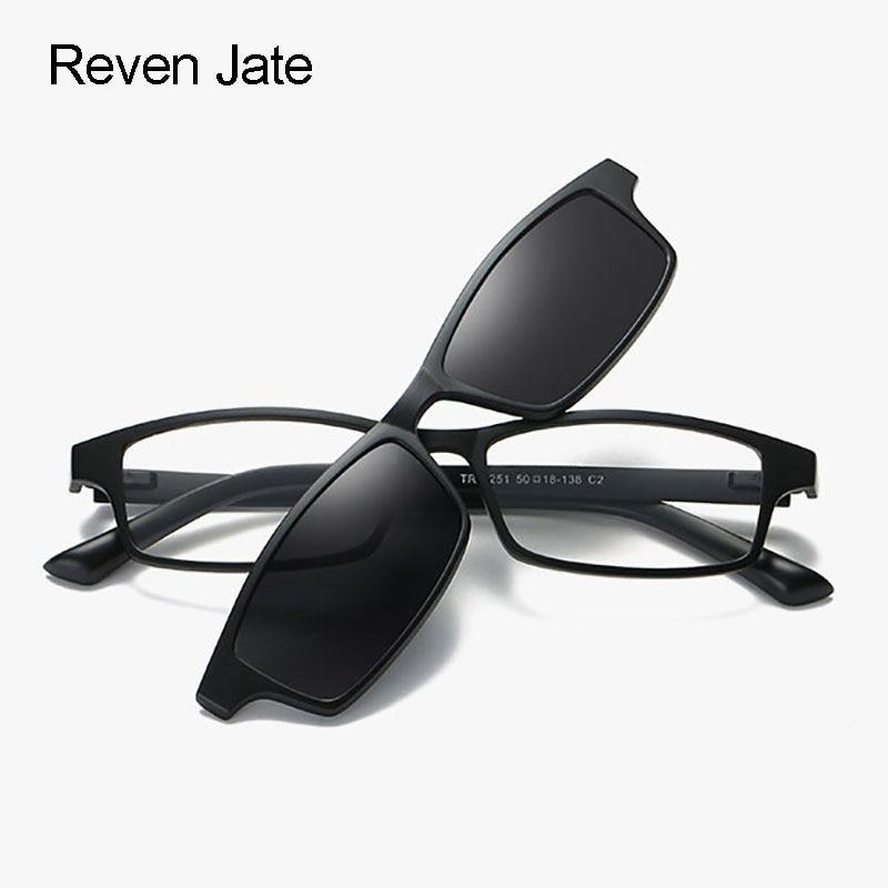 Gafas de sol polarizadas Reven Jate, Clip magnético con TR-90 de plástico, Marco súper ligero para mujeres y hombres, gafas de sol polarizadas