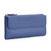New Arrivals Genuine Leather Wallet Long Large Capacity Women Zipper Purse Hot Fashion Multi-Card Bit Women's Card Wallet Sales