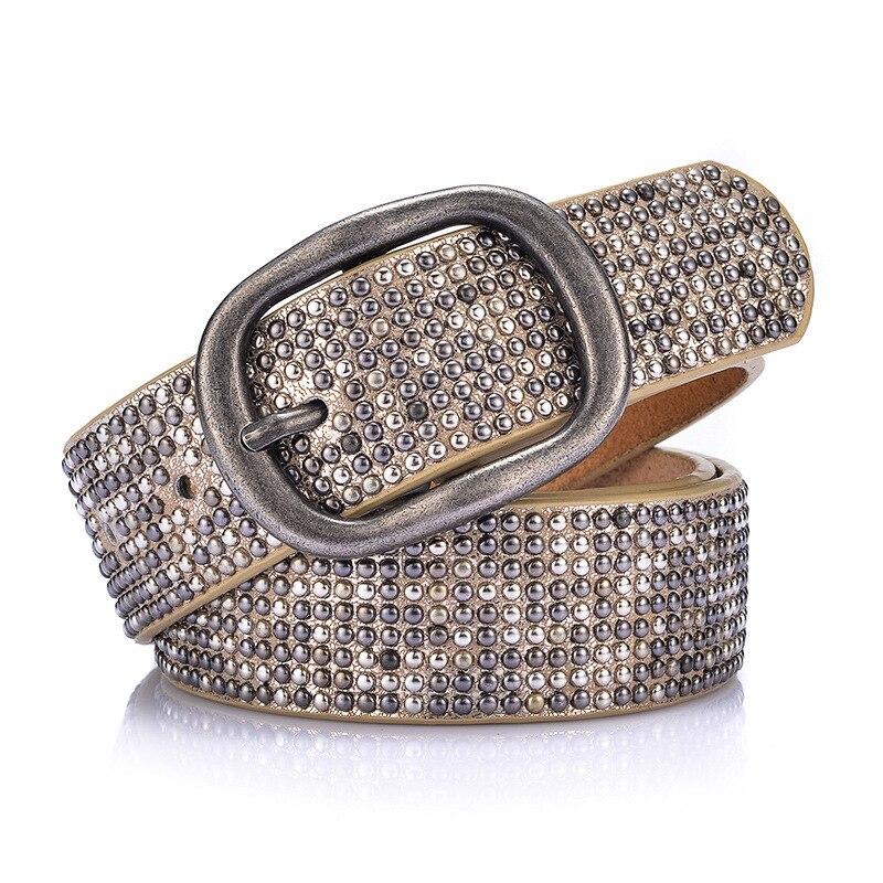 Luxury Rivet Punk Rock Belt Buckle Cowskin Genuine Leather Handmade Cintos Women Female Hip Strap Thin For Jeans  BL294