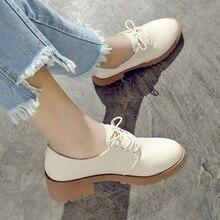 Printemps femmes plate-forme chaussures femme mocassins en cuir synthétique polyuréthane à lacets chaussures femme plat Oxford chaussures pour les femmes