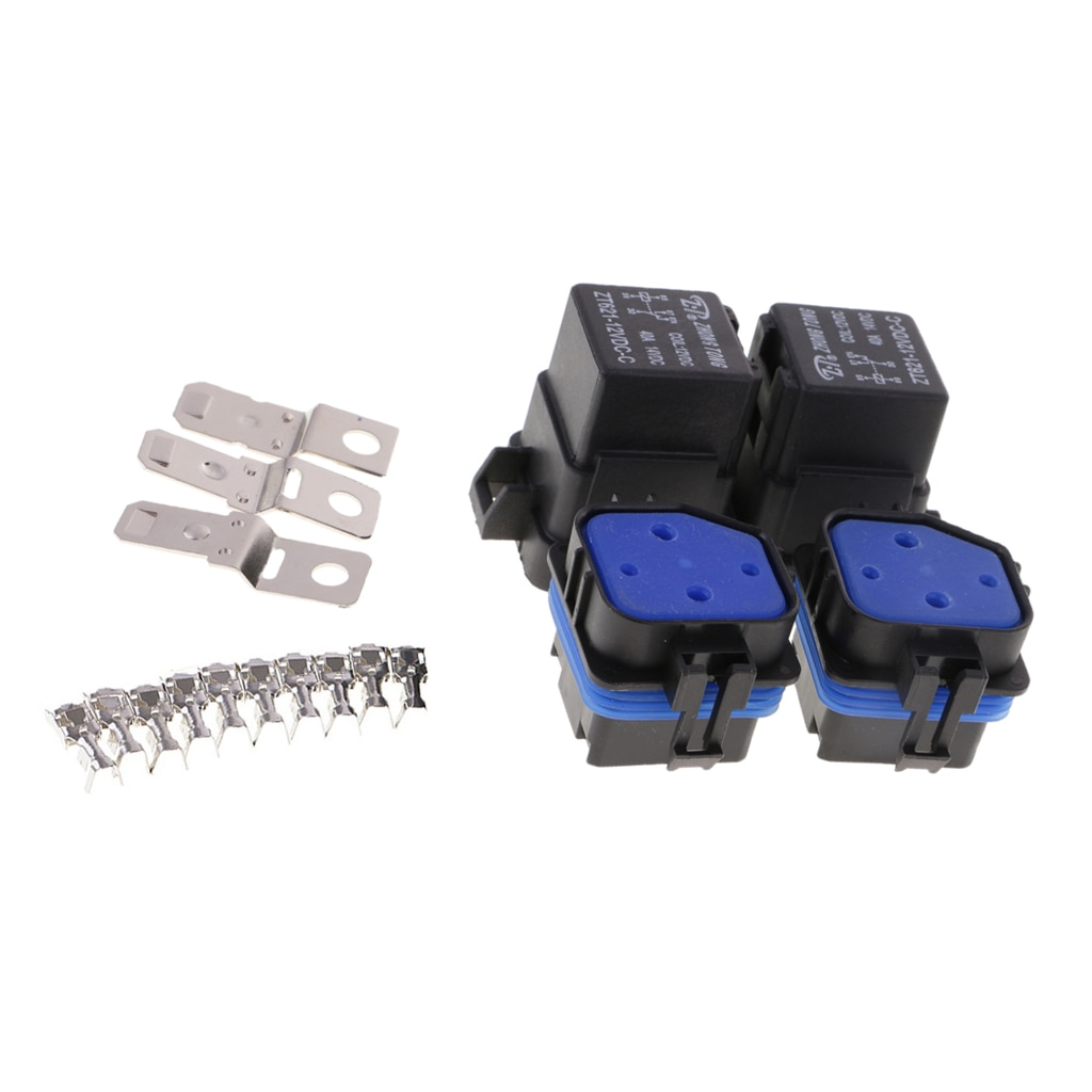 2 Sets Universal 12V 40A 5-Pin Relais und Relais Halter Buchse Integrierte mit Terminals