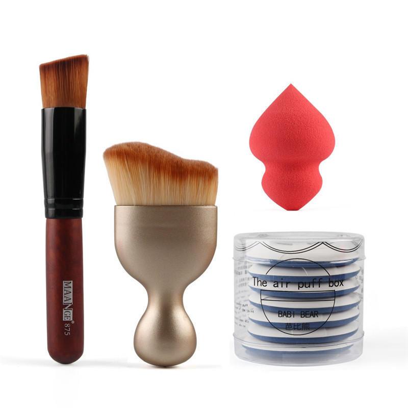 BearPaw 4 Uds conjunto S-pincel de maquillaje en forma de almohadilla para base Puff batidora esponja